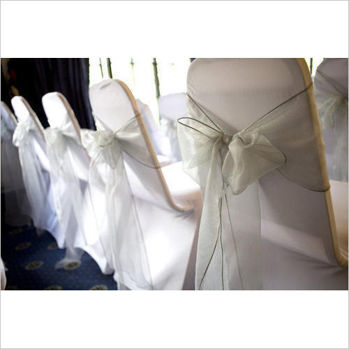 White Plain Banquet Chair Covers With Sashes