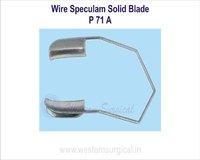 Wire speculum solid blade