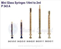 Mini Glass Syringes 1/4 ml to 2 ml