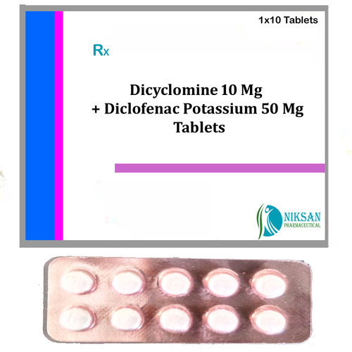 Dicyclomine 10 Mg Diclofenac Potassium 50 Mg Tablets
