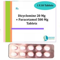 Dicyclomine 20 Mg Paracetamol 500 Mg Tablets