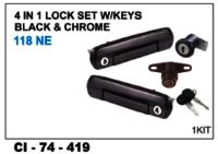 4 In 1 Lock Set W/Keys Black & Chrome  118 Ne