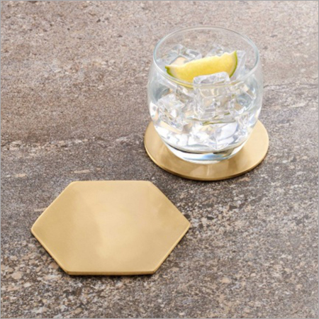 Hexagonal Brass Coaster