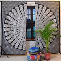 Indian Mandala Black and White Peacock Ombre Hippie Bohemian Curtain