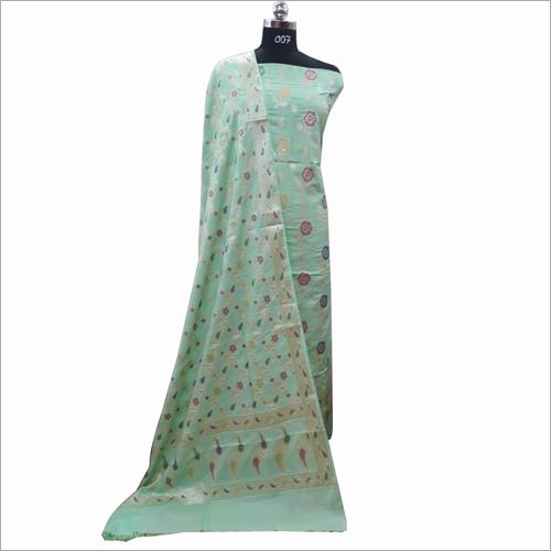 Banarasi Cotton Light Green Suit Fabric