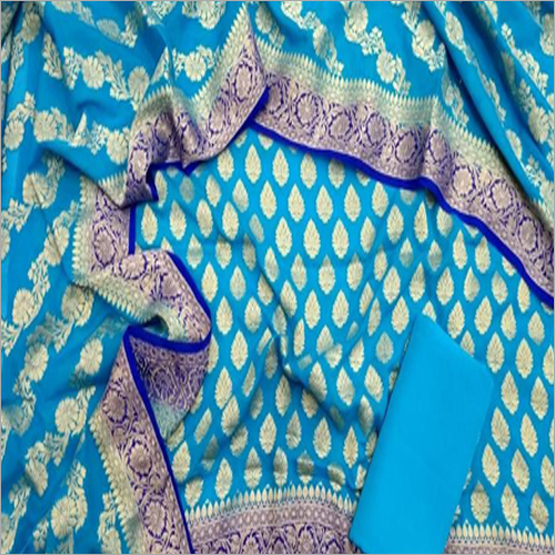 Banarasi Pure Chanderi Blue Suit Fabric