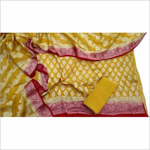 Banarasi Pure Chanderi Yellow Suit Fabric