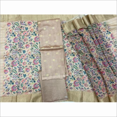 Banarasi Pure Chanderi Zari Weaved Suit Fabric