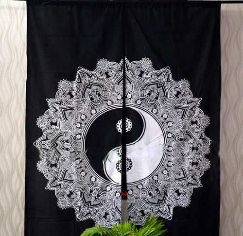 Indian Mandala Black and White Ying Yang Ombre Hippie Bohemian Curtain