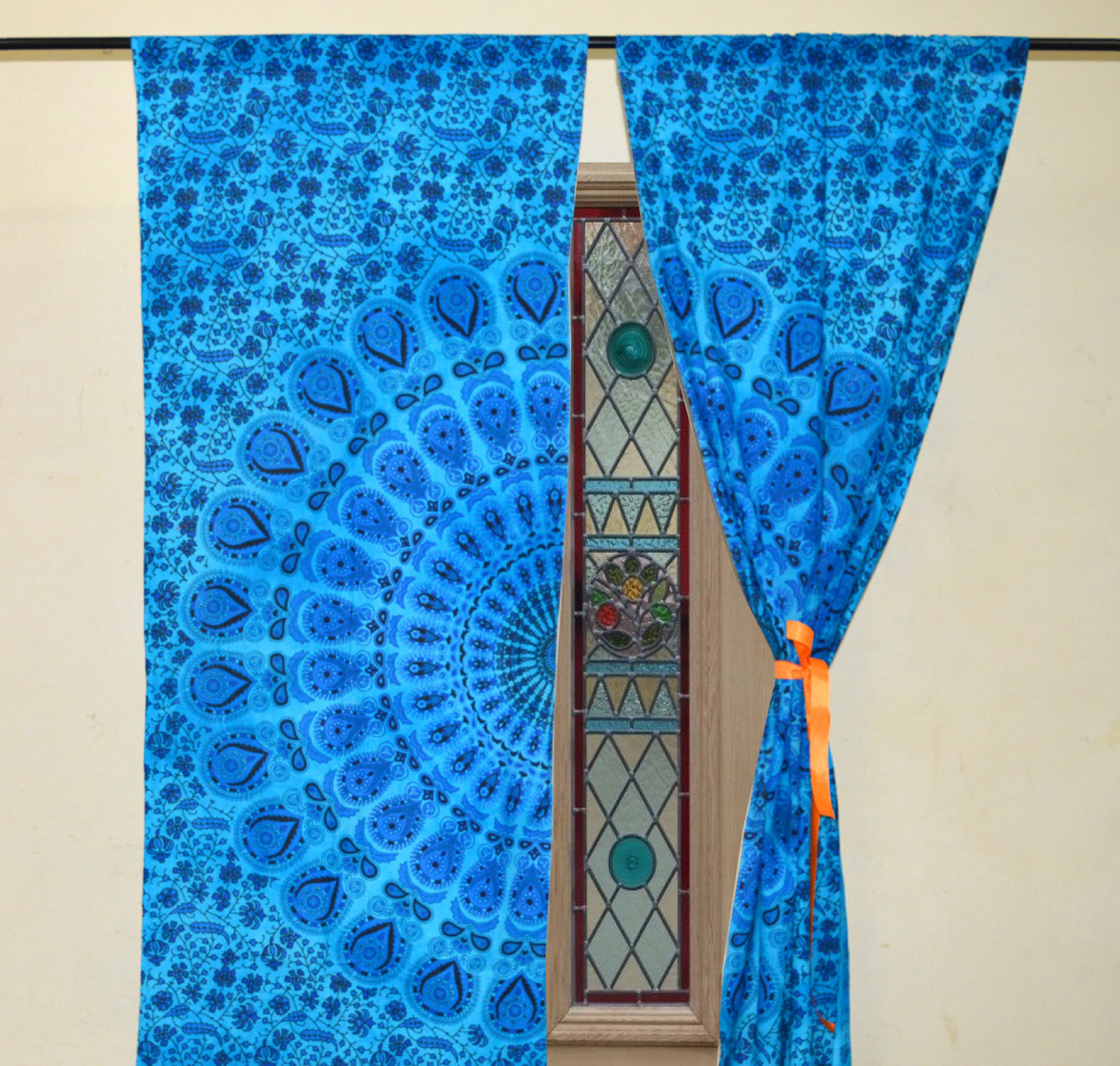 Indian Mandala Blue Dye Peacock Ombre Hippie Bohemian Curtain