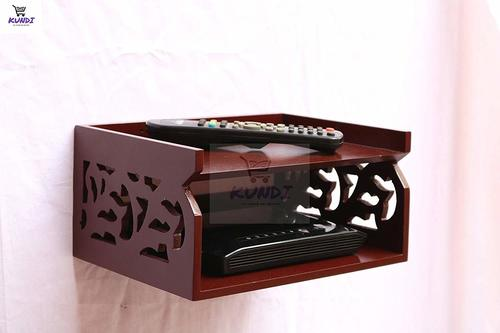Wooden Beautiful Fancy Set Top Box Wall Shelf WiFi Holder (Brown)