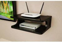 Wooden Set Top Box Holder WiFi Holder Flower Pot Holder Wall Shelf (Black)