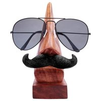 Handmade Wooden Nose Shaped Spectacle Specs Eyeglass Holder Stand with Moustache