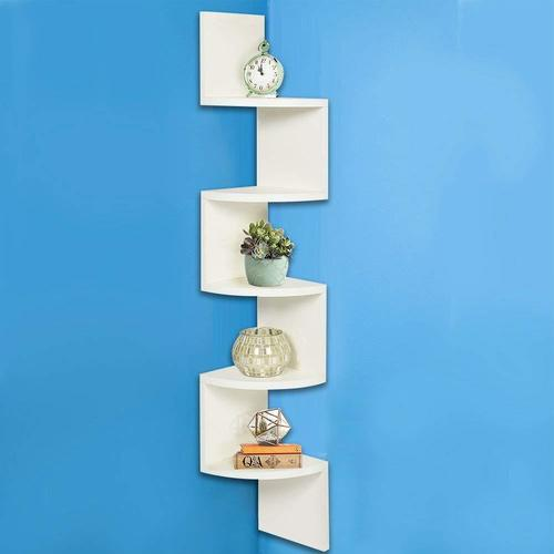 Corner MDF Wooden Shelf | Wall Mount | Zigzag Shape| Wall Shelf for Living Room,Bedroom, Home Decor | 5 Tier Rack Shelving Unit (Wenge) 48×8×8 Inches (White)