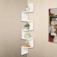 Corner MDF Wooden Shelf | Wall Mount | Zigzag Shape| Wall Shelf for Living Room,Bedroom, Home Decor | 5 Tier Rack Shelving Unit (Wenge) 48×8×8 Inches (White)
