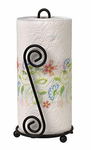 Paper Towel Holder Stand | Toilet Paper Holder | Black Stylish Wrought Iron | Classic Decorative Countertop Holder | Handmade Crafted