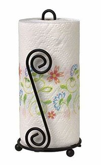 Paper Towel Holder Stand   Toilet Paper Holder   Black Stylish Wrought Iron   Classic Decorative Countertop Holder   Handmade Crafted