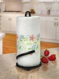 Wrought Iron Kitchen Tissue Paper roll Holder (Black)
