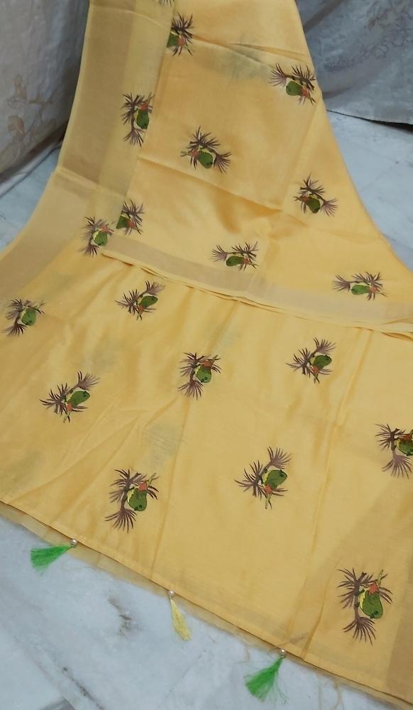 Linen Bird Embroidery Work Sarees