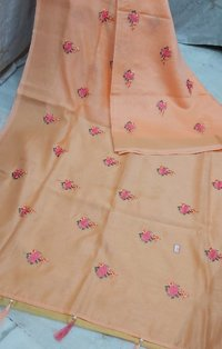 Linen Flower Embroidery Work Sarees
