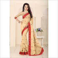 Chiku Colour Georgette Resham Heavy Embroidery Work Saree