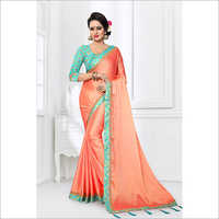 Silk Satin Border And Fancy Broket Saree