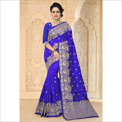 Royal Blue Colour Embroidery Art Silk Saree