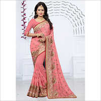 Blooming Georgette With Heavy Thread Heavy Saree