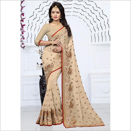 Heavy Thread And Zari Work With Heavy Saree