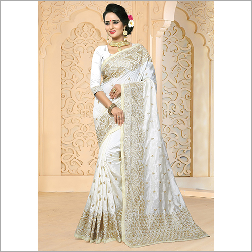 White Colour Embroidery Work Zoya Art Silk Saree