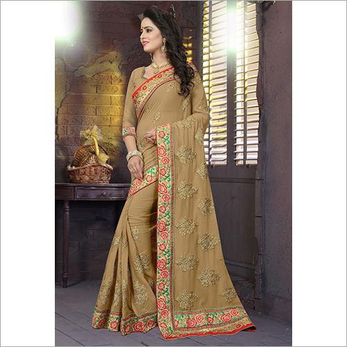 Heavy Blooming Georgette With Colour Heavy Work Saree