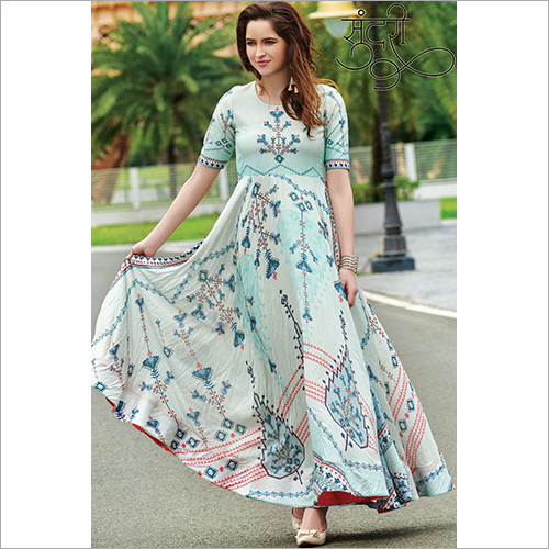 Pure Maslin Fabric With Digital Print Gown