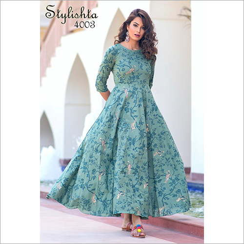 Light Aqua Colour Pure Maslin Fabric With Digital Print Gown
