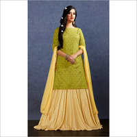 Muslin Fabric Lehenga With Long Kurti Suit