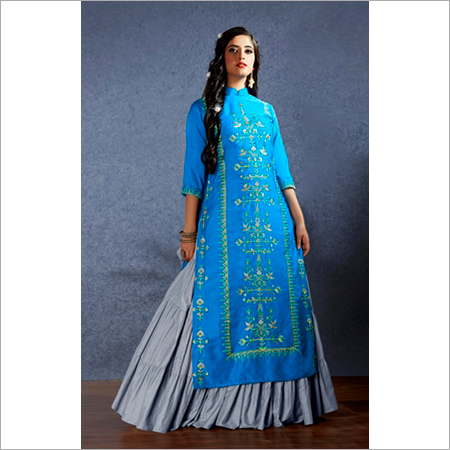 Muslin Fabrics Gathered Style Lehenga With Long Short Kurti Suit