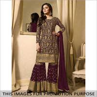 Faux Georgette Kurti With Sharara