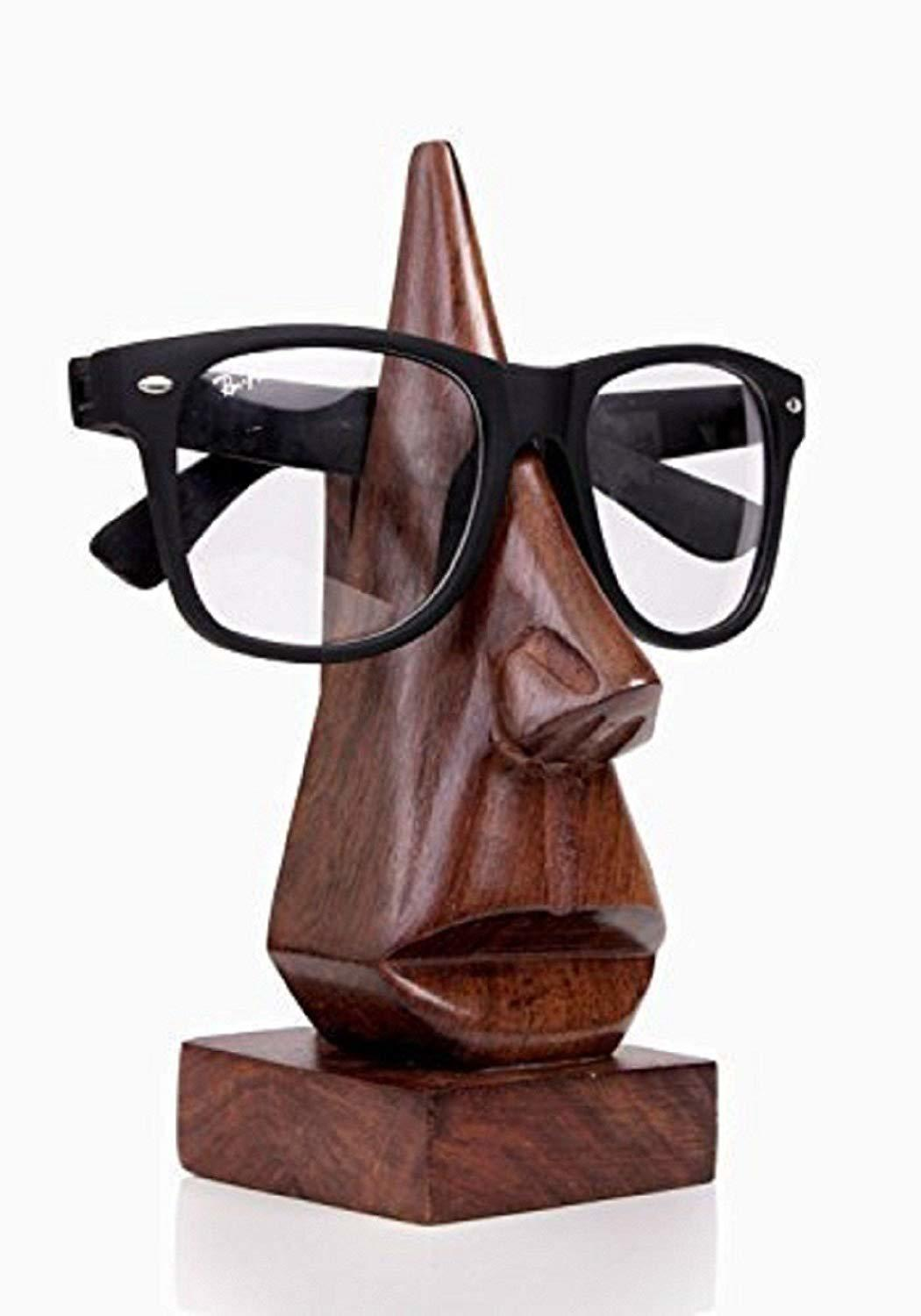 Handmade Wooden Nose Shaped Spectacle Holder Specs Stand & Gift Item