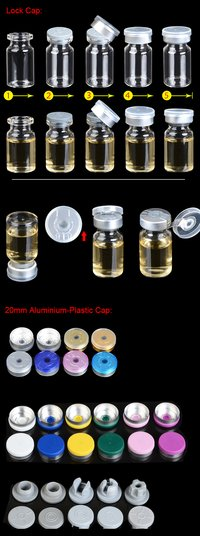 4ml To 20ml , Diameter 22mm , Neck 20mm Clear Glass Vials With Rubber Stopper And Flip Off Cap