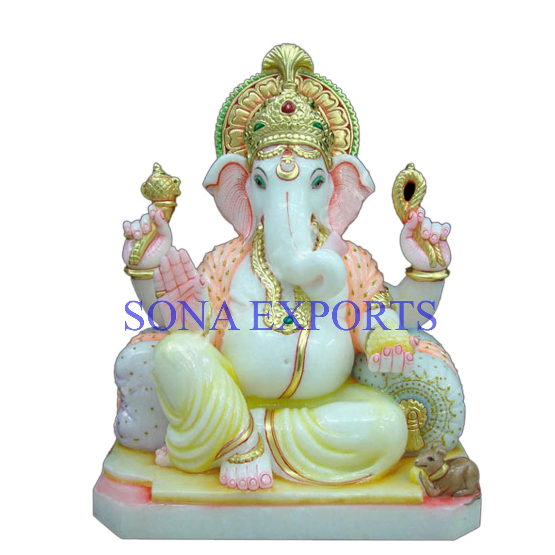 White marble Ganesh Murti India