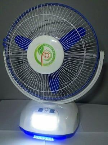 Table fan with inbuilt battery or led lights