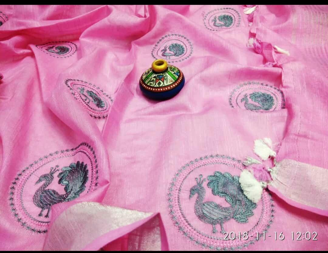 Linen Embroiderywork sarees