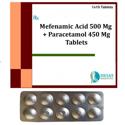 Mefenamic Acid 500 Mg Paracetamol 450 Mg Tablets