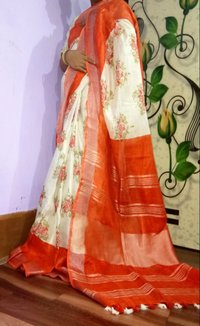 Linen Screenprinted Sarees
