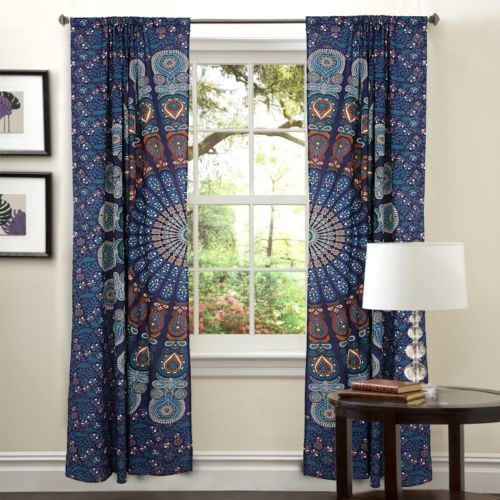 Indian Mandala Blue Ombre Hippie Bohemian Curtain