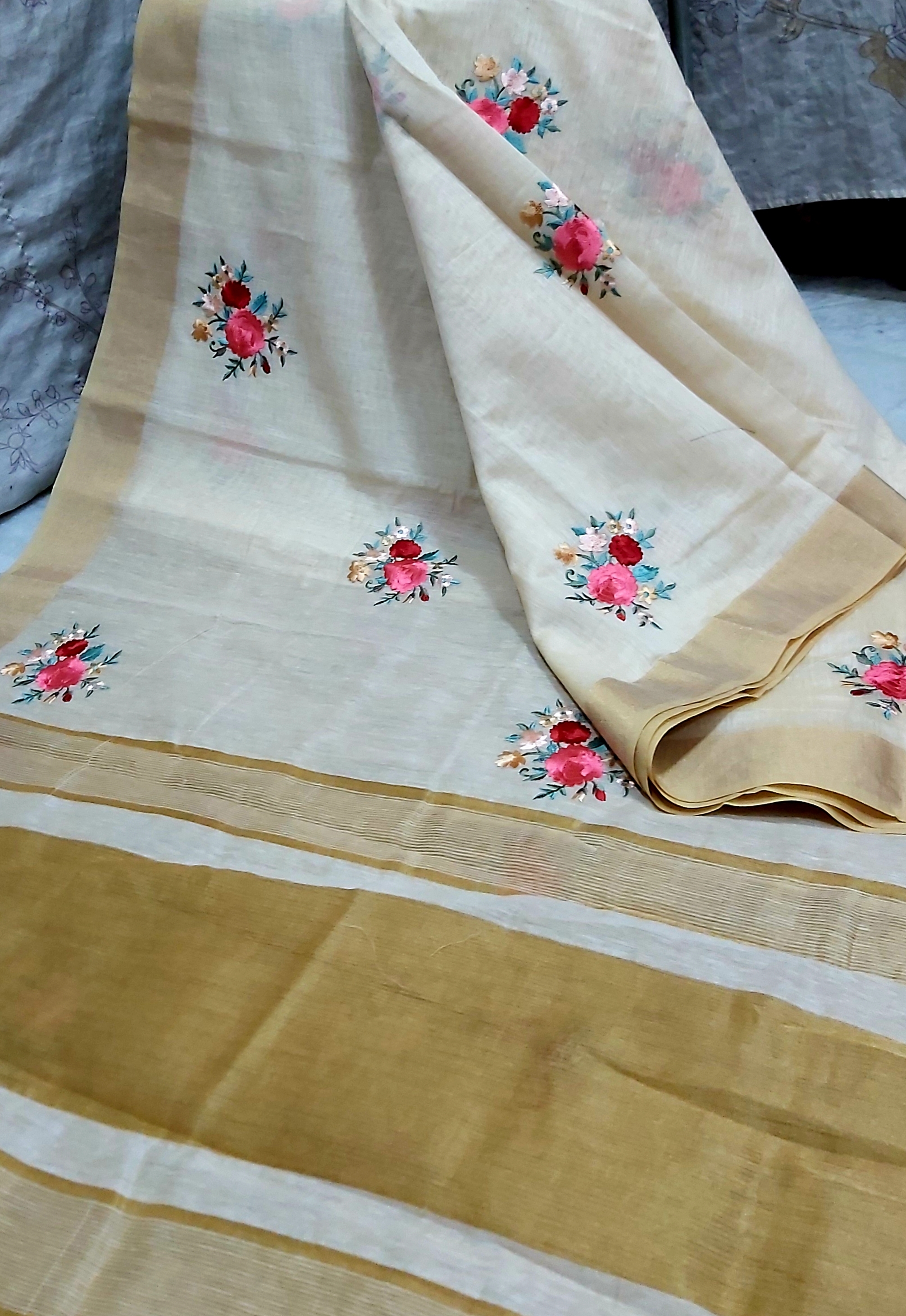Tassar Embroidery Work Sarees