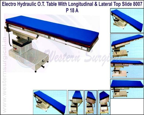 Electro Hydraulic O.T. Table with Longitudinal & Lateral Top Slide