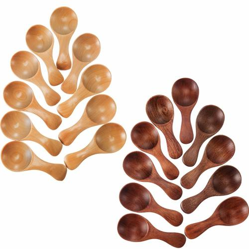 20 Pieces Small Wooden Spoons Mini Condiments Masala Spoon Sugar Seasoning Salt Honey Teaspoon Coffee Tea Jam Mustard Ice Cream Wood Spoons Patti Spoon Multipurpose Mini Spoon