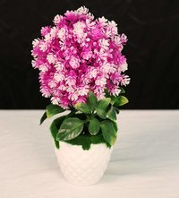 Mini Cute Artificial Flower with Plastic Pot (Random Color Will Be Shipped) (20 x 9 cm)