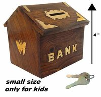 Wooden Money Bank Hut Style Kids Piggy Coin Box Gifts Handmade (4-Inch) with Lock