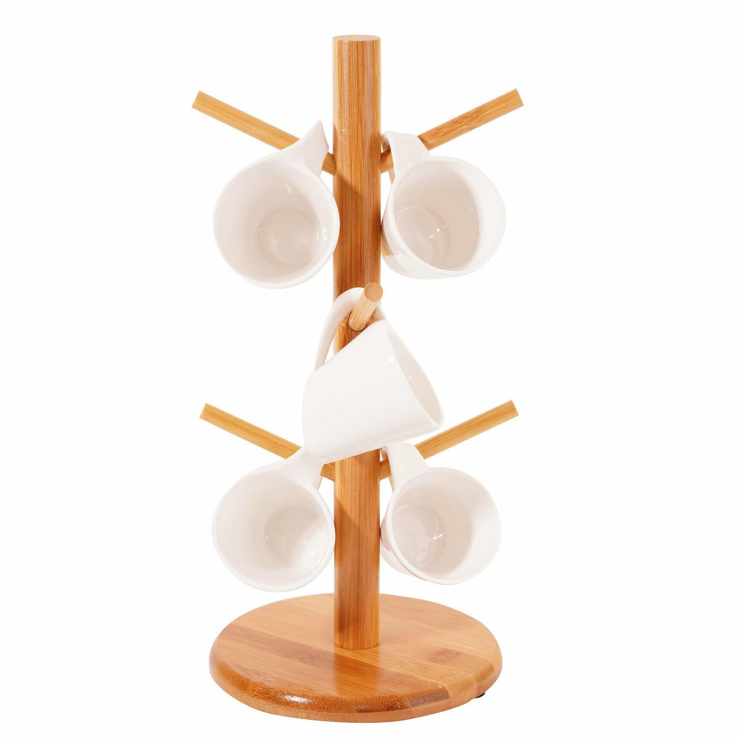Wooden Tea Coffee Mug Holder Cup Stand for 6 Cups